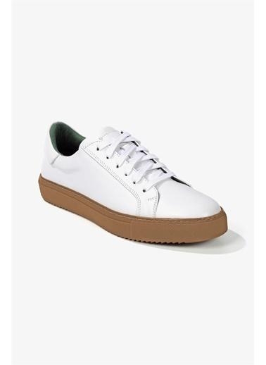 Krähe Corbeau Beyaz Deri Minimal Sneaker Beyaz